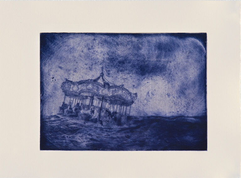 """Like Swimming Horses, drypoint with Chine-collé, Ed. 8, 14 x 17"""""""