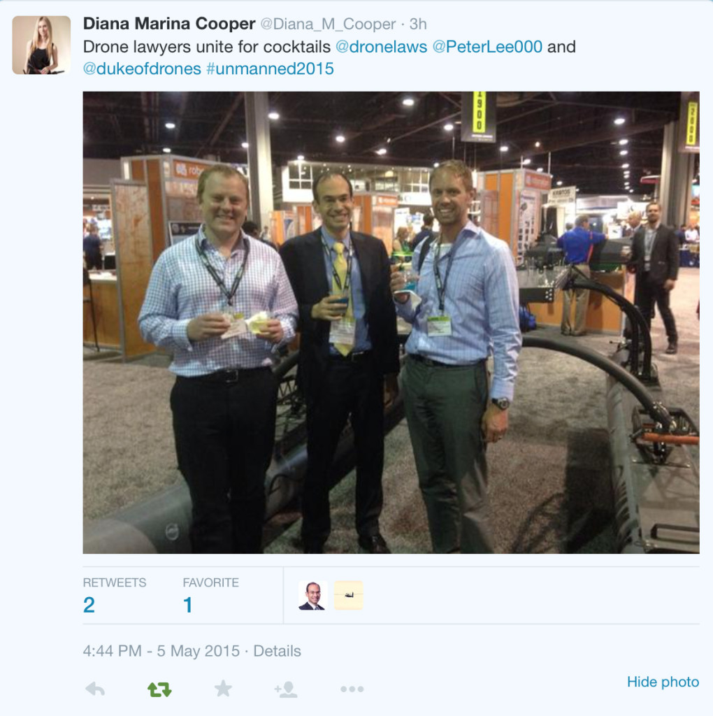 Brendan, Peter Lee (a UAS lawyer in the UK), and myself at AUVSI.
