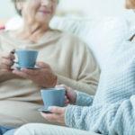 caregiver having coffee