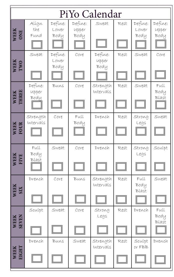 2 month Piyo workout calendar schedule
