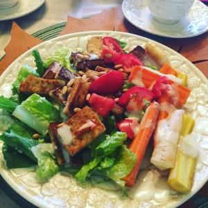 Plant based pregnancy - grilled tofu Caesar salad- RunHoly.com