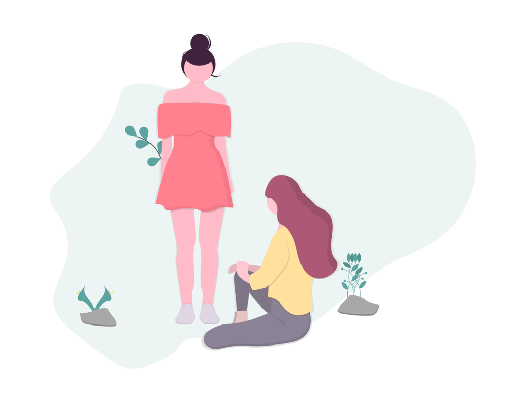 two girls hanging out illustration