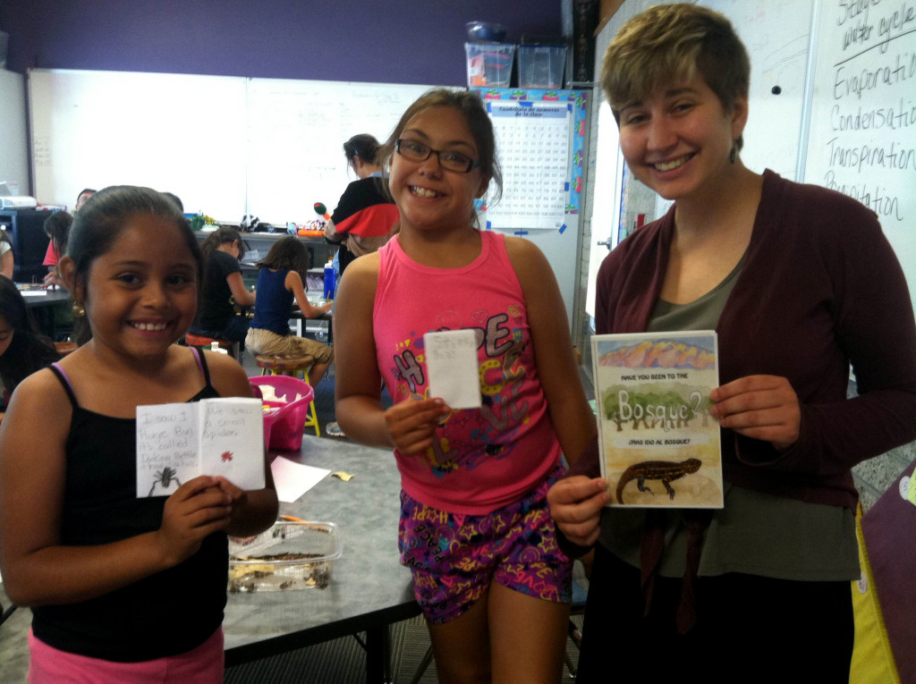 BEMP summer college artist Melina Baron-Deutsch (below on right) worked to create BEMP's first bilingual 'zine'! Melina shared her creation with Horizons summer students.