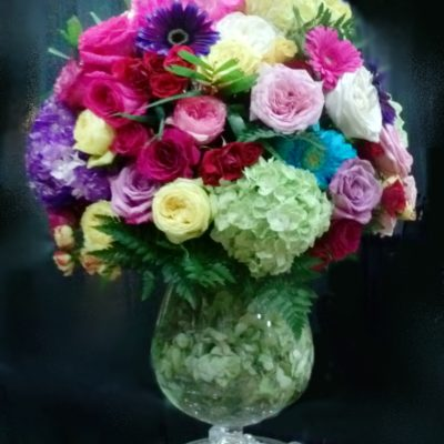 Colorful sphere design with sunk hydrangea and crystals