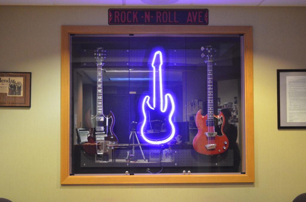 Display of guitars in Tacoma, WA.