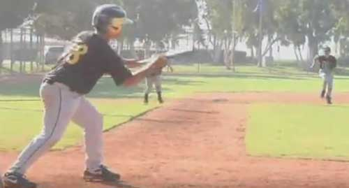 Bunting at a competitive baseball practice.