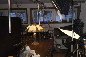 Wide shot of studio lighting setup