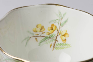 Detail inside of teacup - yellow flowers