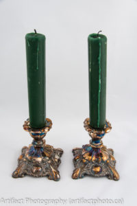 Tarnished silver candlesticks