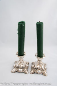 Polished silver candlesticks