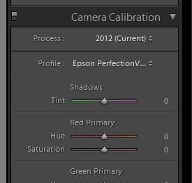 Lightroom Camera Calibration controls