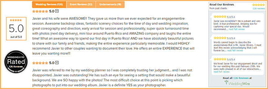 Weddingwire Reviews are the backbone on every photographer