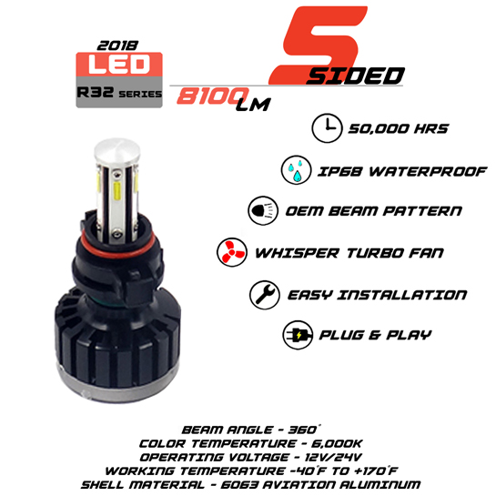 5 Sided 5202 LED headlight Bulbs