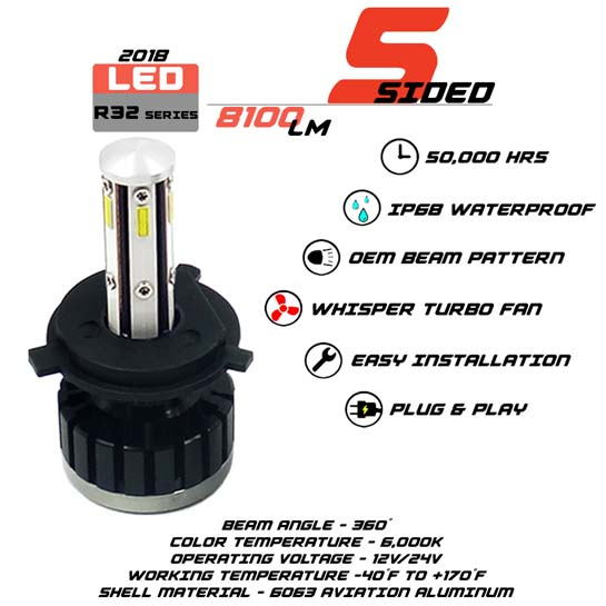 5 Sided 9003 LED headlight Bulbs