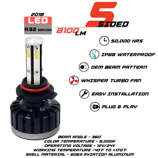 5 Sided 9006 LED headlight Bulbs