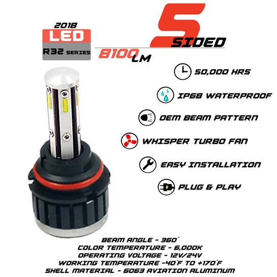 5 Sided 9007 LED headlight Bulbs