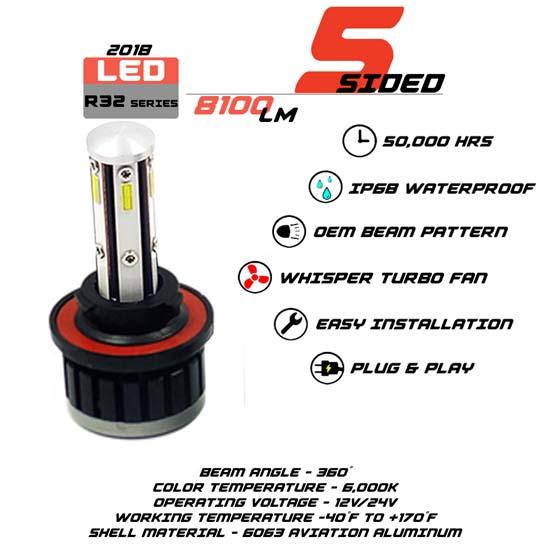 5 Sided 9008 LED headlight Bulbs