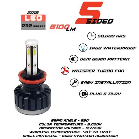 5 Sided H8 LED headlight Bulbs