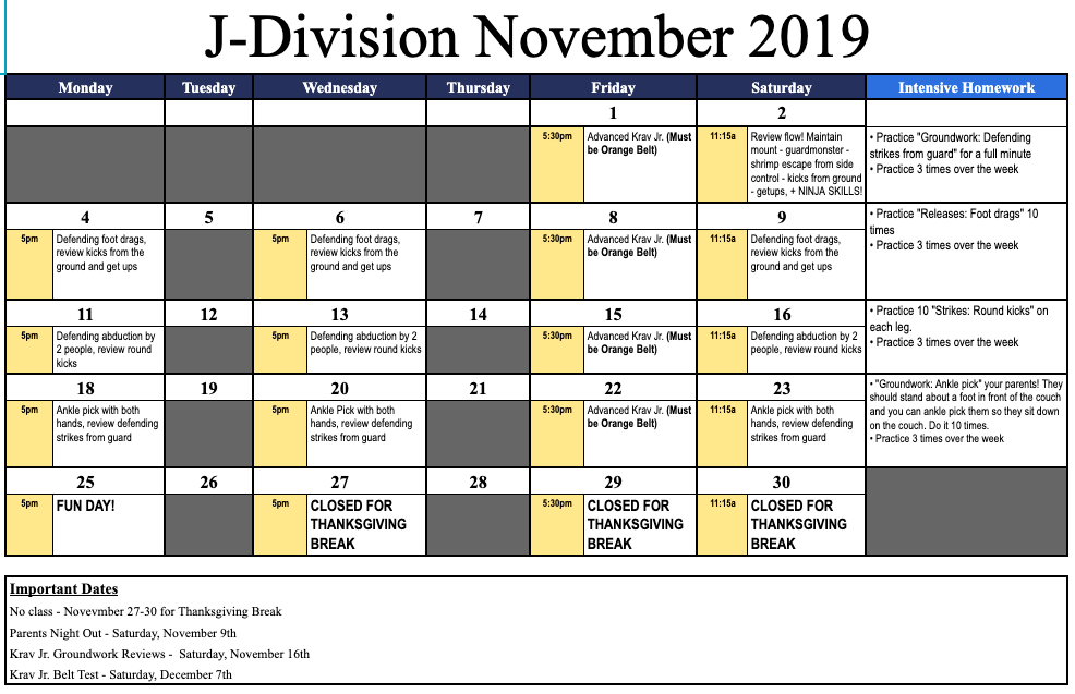 Check out the curriculum and important dates for November 2019 in Krav Junior.