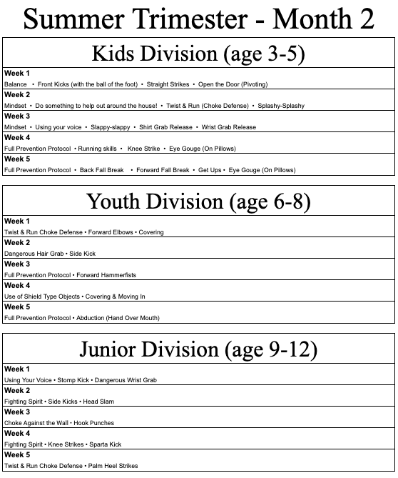 Krav Junior Curriculum - Summer Trimester, Month 2 - June 2020