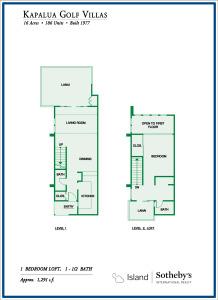 Kapalua Golf Villas One Bedroom Floor Plan