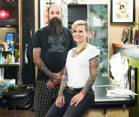 Jeff and April Cornell are co-owners of Hidden Hand Tattoo in Fremont, Washington