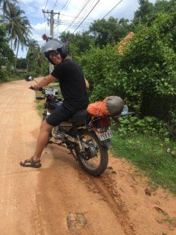 "Eddie skidding around on the ""fun"" mud roads"