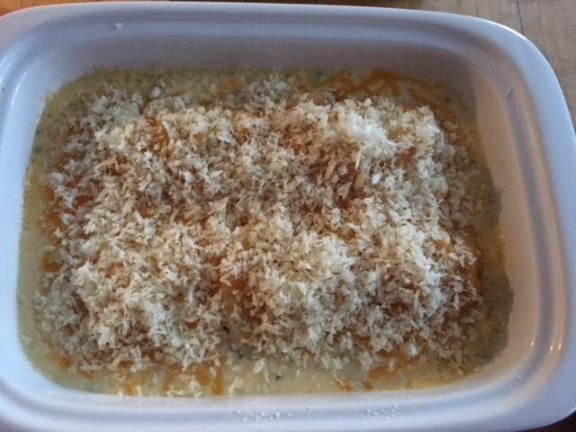 unbaked finished casserole