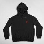 hoodie L.I. logo (black red)