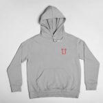 hoodie L.I. logo (grey red)