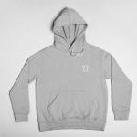 hoodie L.I. logo (grey white)