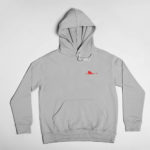hoodie Single Plane logo (grey red)