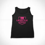 women_s tank Stamp logo (black pink)
