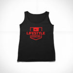women_s tank Stamp logo (black red)