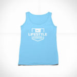 women_s tank Stamp logo (carolina blue white)
