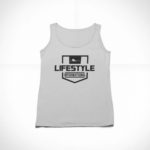 women_s tank Stamp logo (grey black)