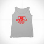 women_s tank Stamp logo (grey red)