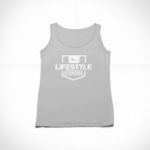 women_s tank Stamp logo (grey white)