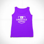 women_s tank Stamp logo (purple white)
