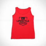 women_s tank Stamp logo (red black)