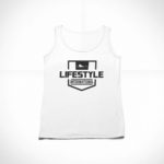 women_s tank Stamp logo (white black)