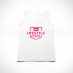 women_s tank Stamp logo (white pink)