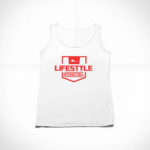 women_s tank Stamp logo (white red)