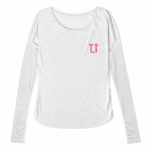 ladies raw edge long sleeve L.I. ( gray red)