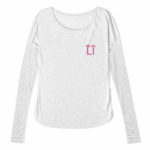 ladies raw edge long sleeve L.I. ( white pink)