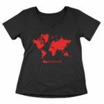 women_s vneck Map logo (black red)
