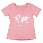 women_s vneck Map logo (pink white)