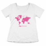 women_s vneck Map logo (white pink)