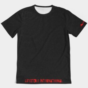1st class tee black red