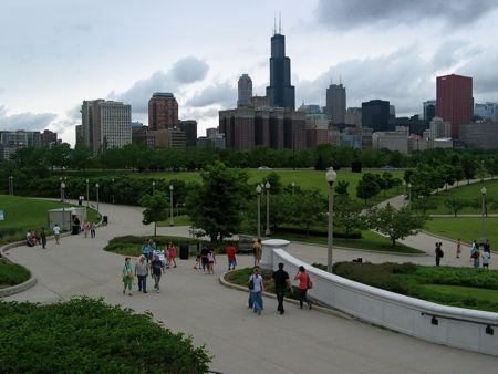 Chicago Skyline and Grant Park paths from the Field Museum Downtown